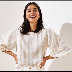 Striped neutral balloon sleeve blouse